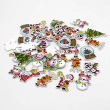 50pcs/lot Random Mixed Color Christmas series 2 Holes Wood Painting Sewing Buttons for Craft Supplies Scrapbooking