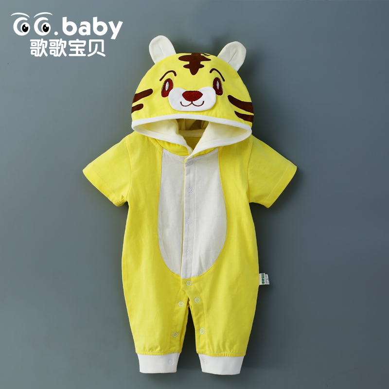2017 Newborn Baby Rompers Summer Girls Clothing Baby Boy Girls Clothes Romper Short Sleeve Cartoon Tiger Baby Costume Jumpsuits 2016 hot baby rompers boys girls cartoon short sleeve baby rompers cotton newborn baby clothes jumpsuits clothing mama printed