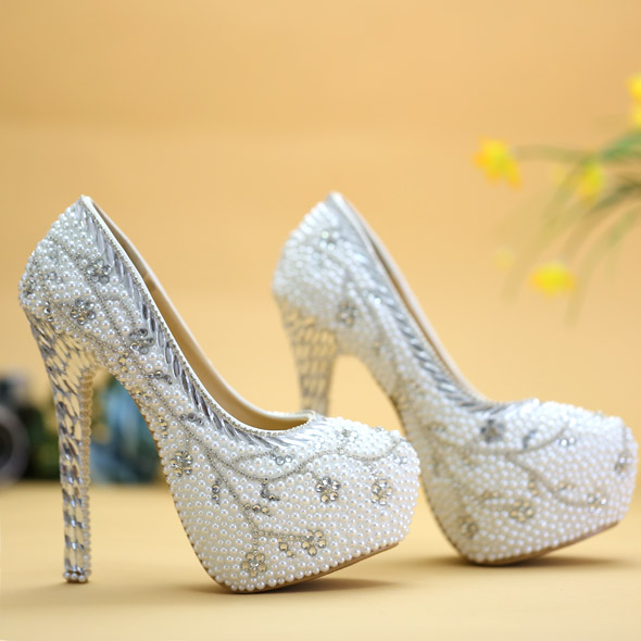 Crystal shoes Luxury wedding shoes white pearl water proof high-heeled shoes bride dress party heels 14cm TV Showing shoe gift
