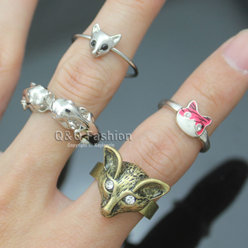 Pack of 4 Tribal Gold Wolf Silver Leopard Fox Cat Head Animal Stack Band Ring Jewelry 2018 New