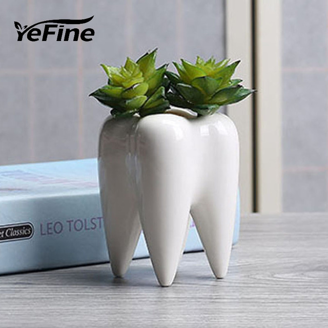 Yefine Designer Teeth Shape Small Plant Pots Mini Succulent Planter Bonsai Ceramic Nursery Flower