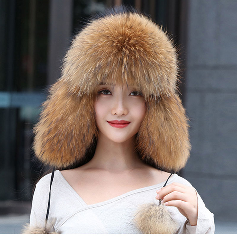 Real Women Fox Fur Hat With Earflap Warm Winter Ladies Thick Real Raccoon Fur Hats 2018 New Hot Sale Russia Geunine Fox Fur Cap