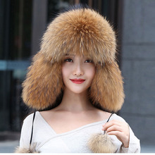 Real Women Fox Fur Hat With earflap Warm Winter Ladies Thick Real Raccoon Fur  Hats 2018 4cce617ee3a5