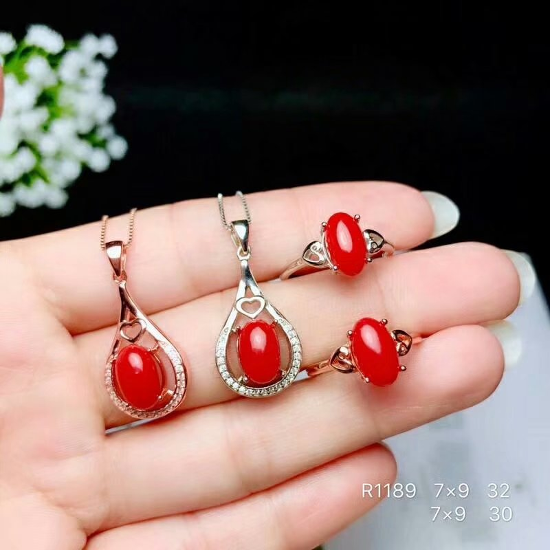 shilovem 925 sterling silver Natural red coral pendants rings fine Jewelry trendy new send necklace gift