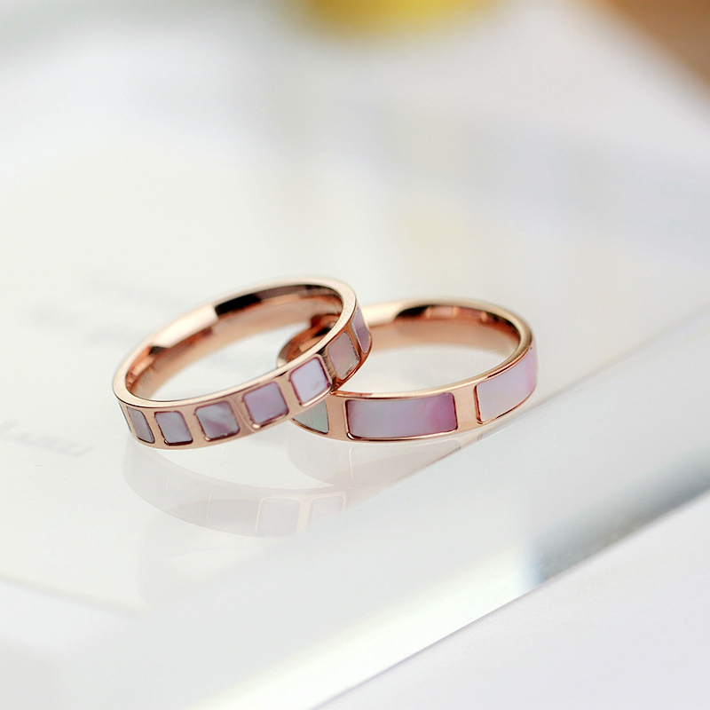 YUNRUO New Arrival Rose Gold Plated Natural Pink Shell Rings Titanium Steel Jewelry Woman Fashion font