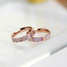 Yunruo nueva llegada chapado en oro rosa natural pink shell anillos de mujer accesorios de moda de joyería de acero titanium regalo nunca se desvanecen
