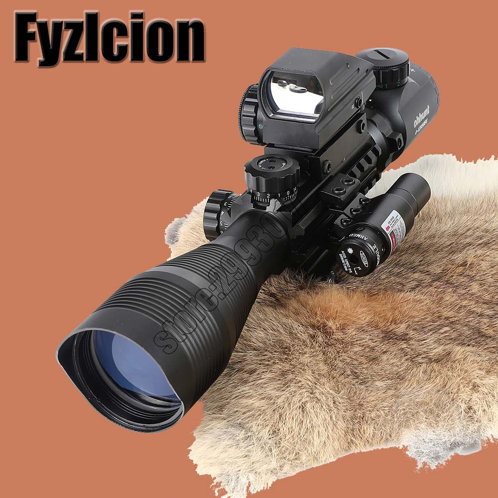 Fyzlcion Hunting 4-12X50EG Tactical Air Gun Red Dot Laser Sight Scope Holographic Optics Rifle Sight Scope new arrivals pale pink shiny leather kawaii rabbit ankle strap sweet lolita shoes 5 5cm heel pumps