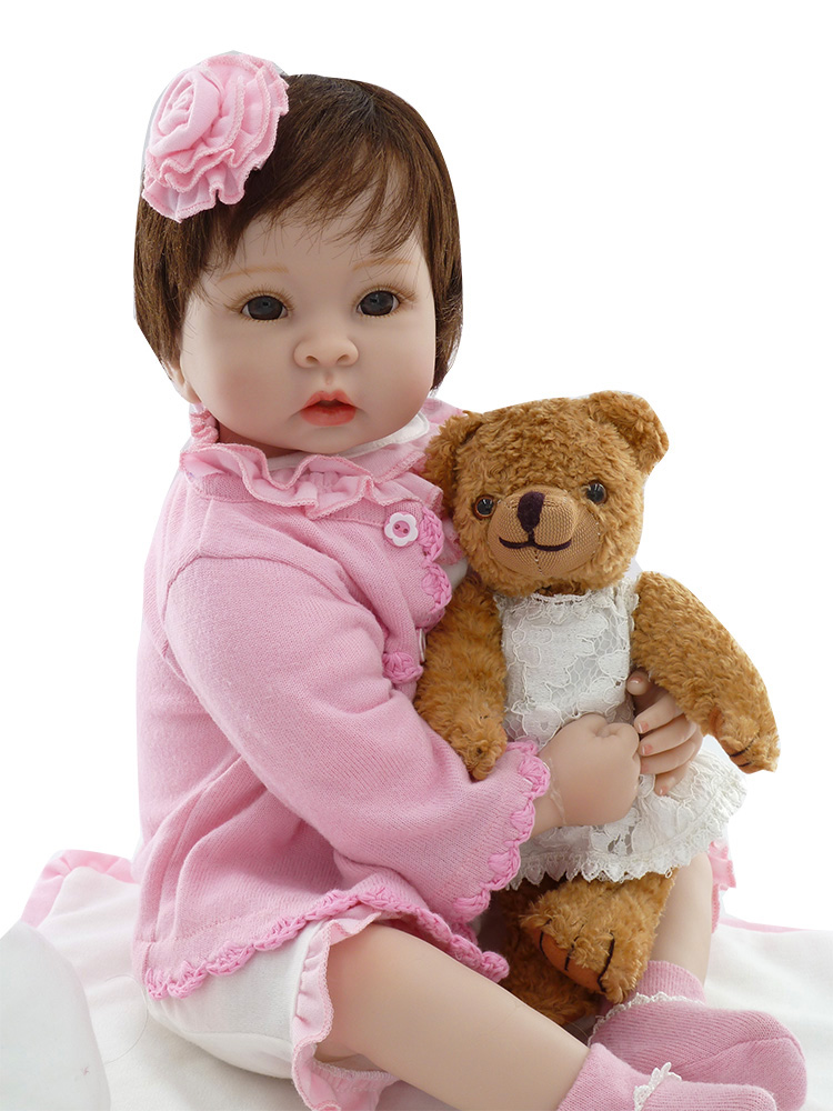 Neugeborenen silikon reborn babys puppe + Weiche Spielzeug bär handgemachte mädchen gerade die echt baby lebensechte baby reborn menina bonecas-in Puppen aus Spielzeug und Hobbys bei  Gruppe 2