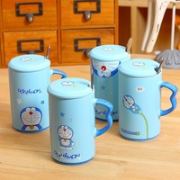 New Pattern Creative Cute Blue Doraemon Ceramic Mug Cartoon Cup Milk Coffee Cup W Cup Cover