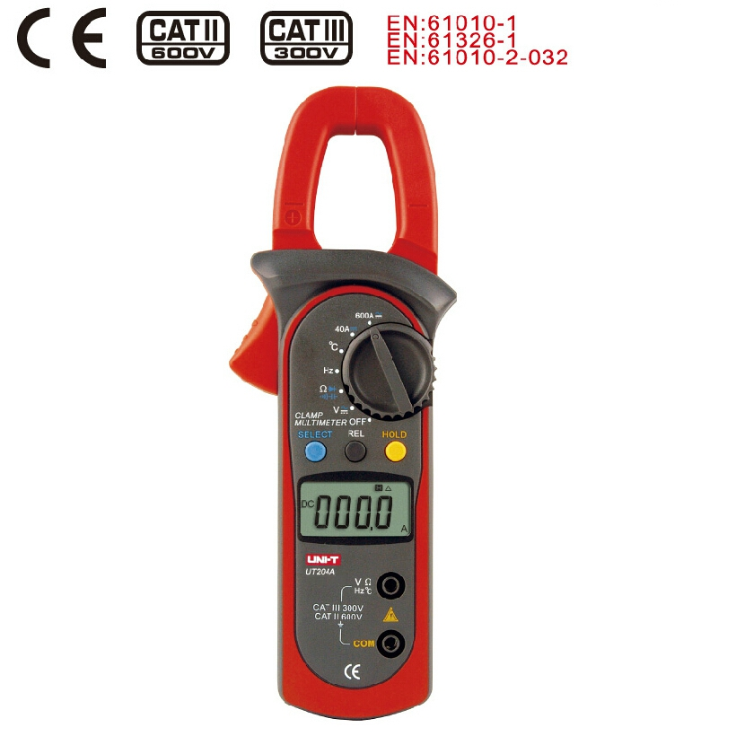 Digital Clamp Meter UNI-T UT204A Current Clamp AC/DC Current Voltage Capacitor Resistance Tester Amper Voltmeter high quality original uni t ut109 ac dc current resistance diode tester digital clamp meter ut109 new diagnostic tools ut109