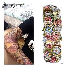 1 Piece Temporary Tattoo Sticker Water Transfer Rose Flower Compass Pattern Sexy Women Body Art Big Large Tattoo Sticker QB-3034