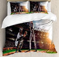 Комната подростка набор пододеяльников профессиональные бейсбольные плееры на стадионе играть в игры Пич Спорт печать 4 шт постельные прин
