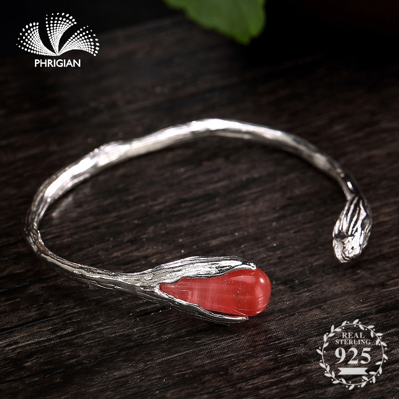 NOT FAKE S990 Fine Jewelry  925  Sterling Silver Bangle S925 Vintage  lily Handmade Ruby Garnet  Natural flea market Luxury retro 925NOT FAKE S990 Fine Jewelry  925  Sterling Silver Bangle S925 Vintage  lily Handmade Ruby Garnet  Natural flea market Luxury retro 925