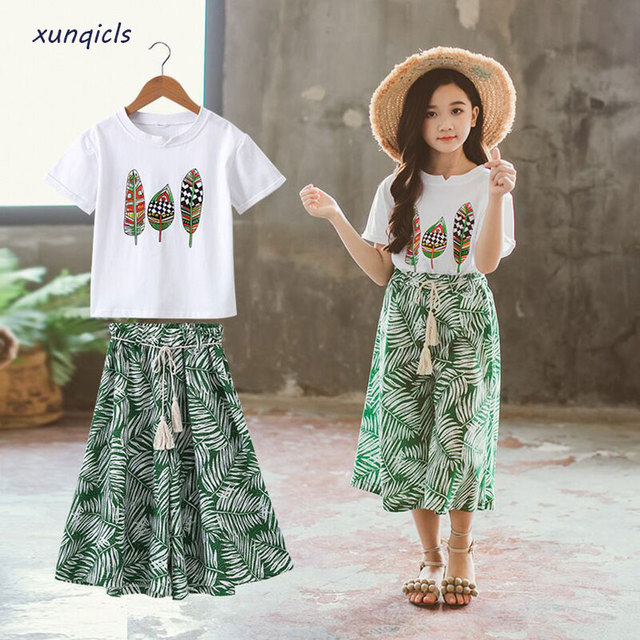 Summer Girls' Clothes Sets with Printed Feathers
