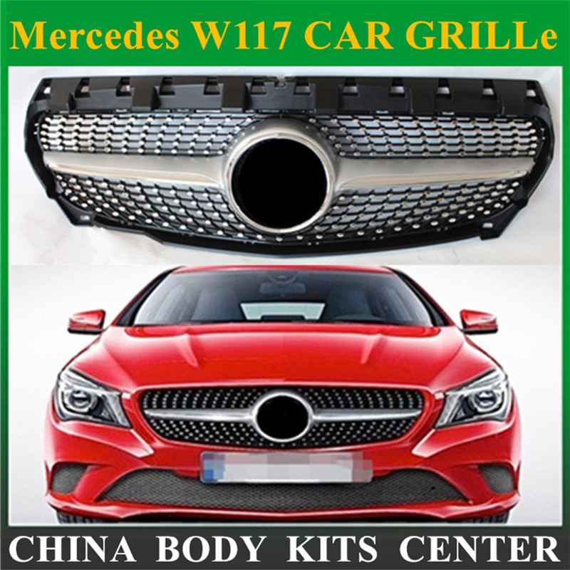 Front Grill Diamond Grille For CLA Class Mercedes Benz W117 Cla180 Cla 200 Cla260 Cla300 2013 2014 2015+ Silver ABS Material for mercedes benz cla class w117 cla180 cla200 cla250 cla45 amg carbon fiber front lip splitter flap canard fits sporty car amg