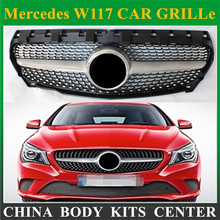 Front Grill Diamond Grille For CLA Class Mercedes Benz W117 Cla180 Cla 200 Cla260 Cla300 2013 2014 2015+ Silver ABS Material