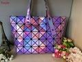 Moda BAOBAO saco para Wome Geometria Diamante Malha saco de Tote das mulheres bolsas bao bao saco famoso logotipo do laser holograma dentro