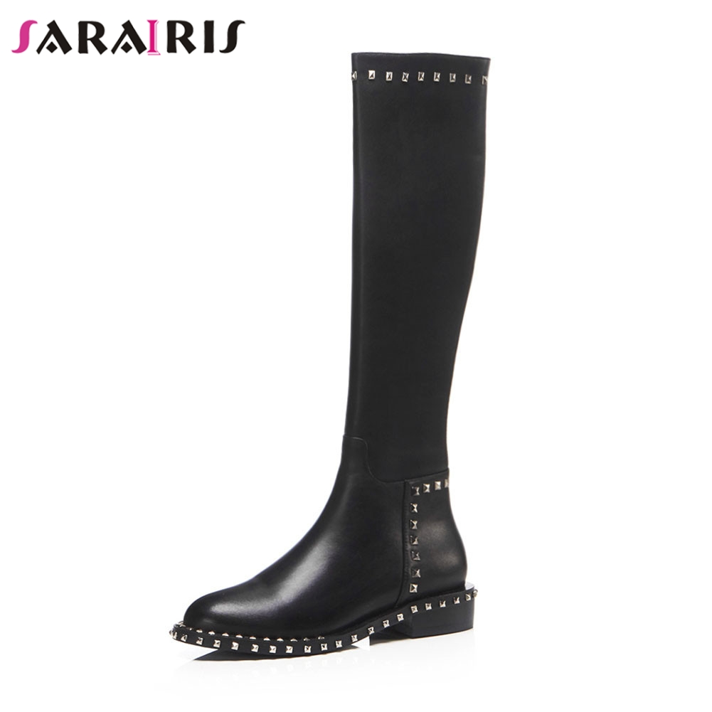 SARAIRIS Brand New womens Genuine Leather Wide Low Heels Rivet Shoes Woman Casual Autumn Winter Knee High Boots Big Size 34-43SARAIRIS Brand New womens Genuine Leather Wide Low Heels Rivet Shoes Woman Casual Autumn Winter Knee High Boots Big Size 34-43