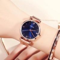 2017 Fashion Rose Gold Steel Simple Girl Bracelet Watch Guou Luxury Brand Woman Quartz Watches Clock