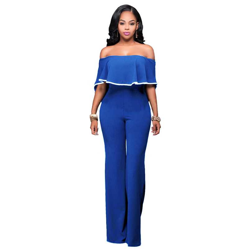 2017Womens Jumpsuit Off Shoulder Overalls For Women Jumpsuits Rompers Long Pants Plus Size WS176R