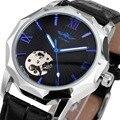 VENCEDOR Militar Mens Auto Mecânica Relógios de Pulso De Couro Banda Esqueleto Masculino Relógios Algarismos Romanos Mostrador Azul + CAIXA de PRESENTE