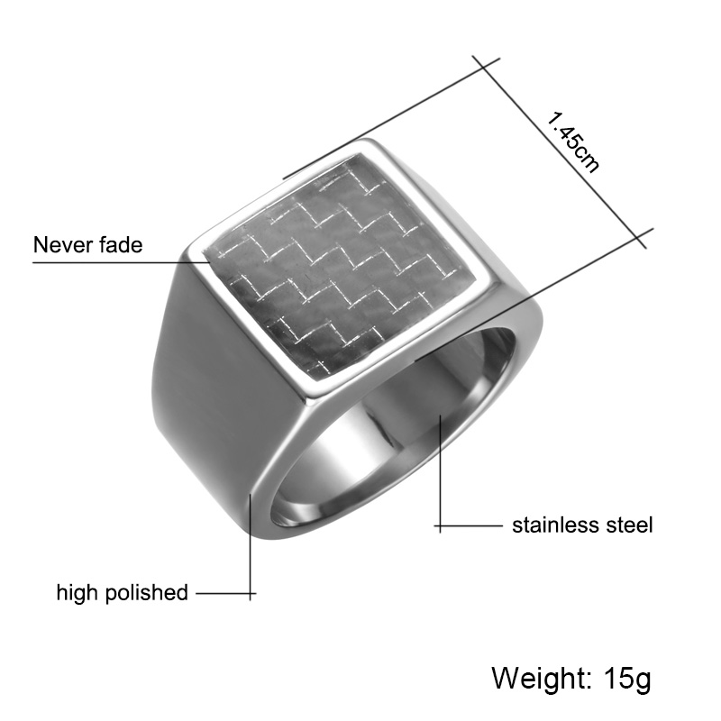 Carbon Fibre Pinky Ring Rectangle Stainless Steel Band Big Rings Steel God Color Signet Polished Biker Bague Party Jewelry