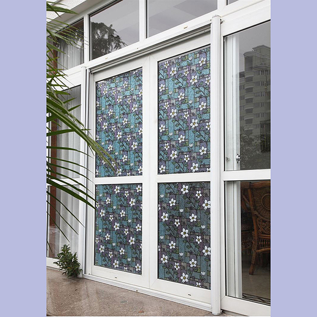 Pvc privacy window decorative films orchid window film stained glass stickers home privacy diy decoration 45cm