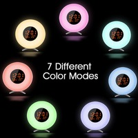 New Digital Luminous Alarm Clock Colored Sunrise Wake Up Light Lamp Nature Night Light With Sounds Mode Table Clocks For Gifts