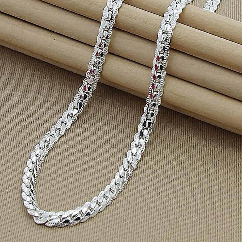Preço de atacado 6mm colar lateral completo para mulheres homens 925 prata esterlina jóias cobra corrente colares