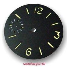 Новинка 36,3 мм Parnis с черным циферблатом светящиеся маркеры подходят для 6497 мужские часы