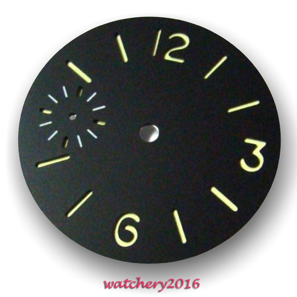New 36.3mm Parnis Black Dial Luminous Markers Fit 6497 Movement Men's Watch Dial