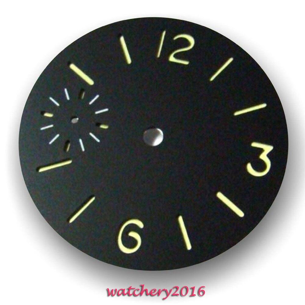 Novo 36.3mm Parnis mostrador preto marcadores luminosos caber 6497 mostrador do Relógio dos homens do movimento