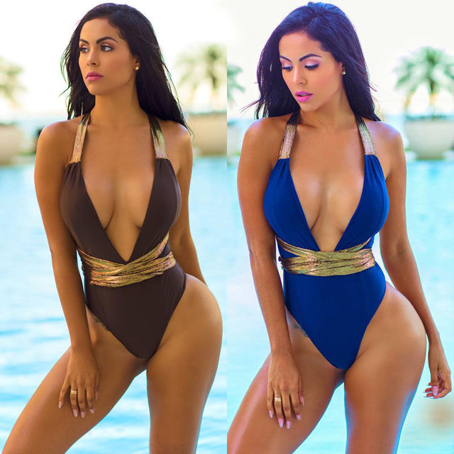 8952261a583f3 New Women One-Piece Swimsuit Beachwear Swimwear Blue Brown V-neck push up  monokini bikini Bathing