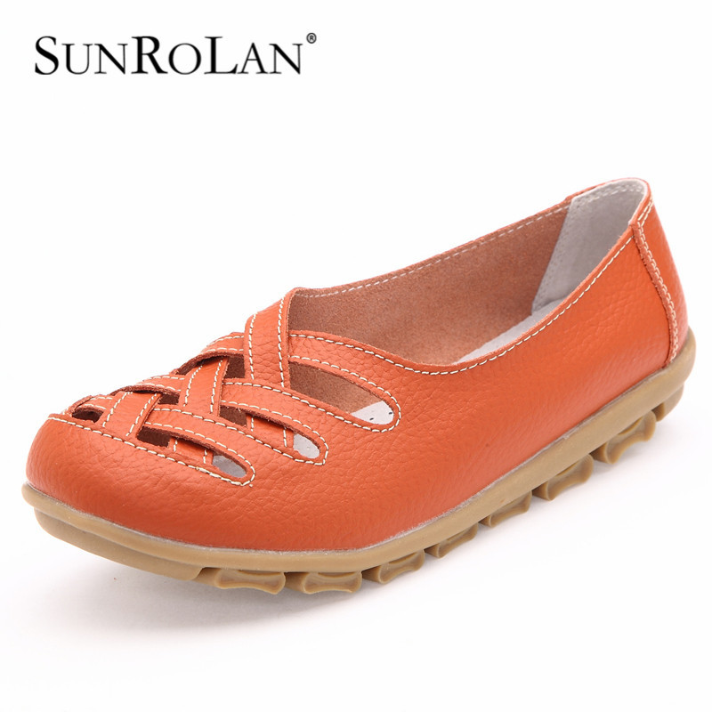 sunrolan cut out sandals genuine leather sandals