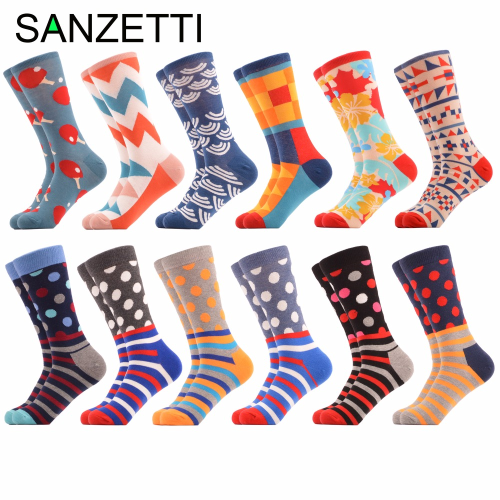 SANZETTI 12 pairs/lot Funny Mens Dress Wedding Socks Fashion Novelty Maple Leaves Dots Combed Cotton Crew Socks Colorful Gifts