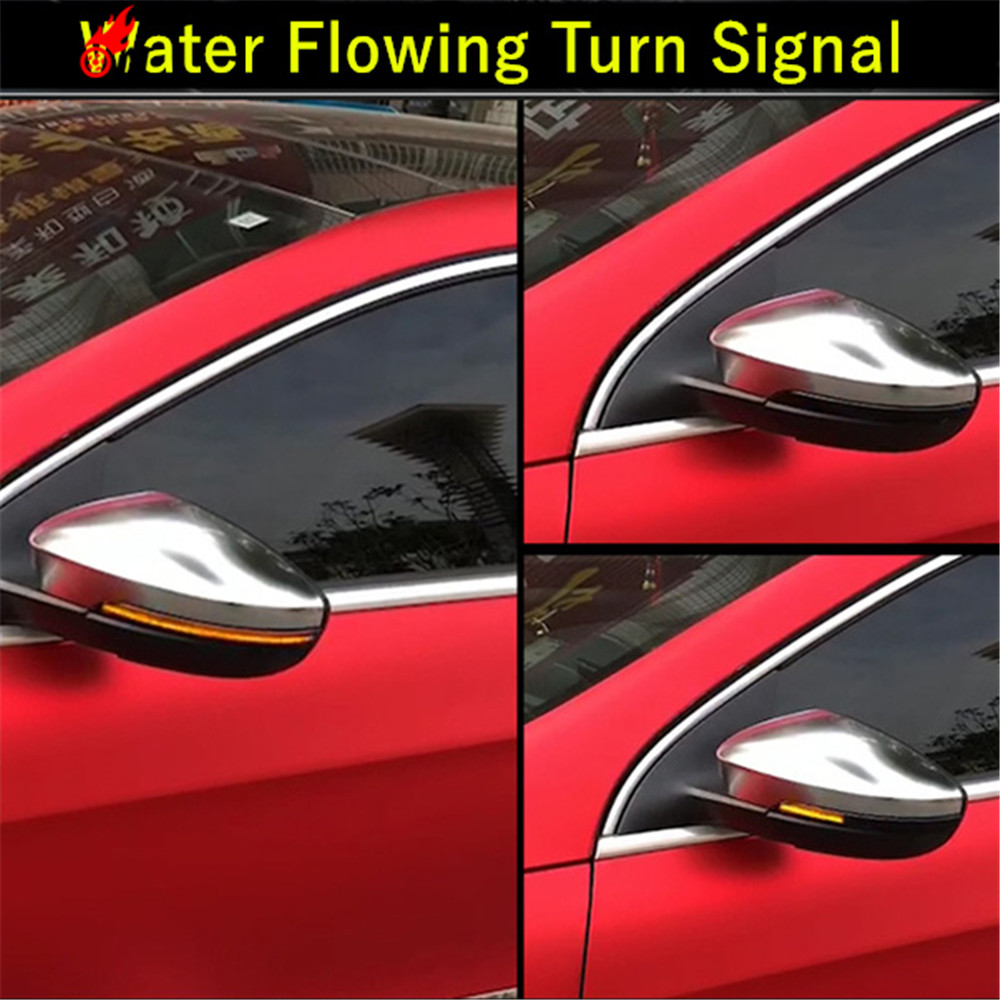 Water Flowing LED Side Wing Rearview Mirror Indicator Blinker Repeater Light For VW Passat B7 CC Scirocco Jetta MK6 EOS Beetle chromesupply mazda 2 demio chrome side mirror cover with led side blinker trim