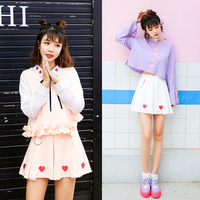 Princess Sweet Lolita Skirt Autumn Clothing Day Soft Sister College Heart Shaped Embroidery Circle A Type