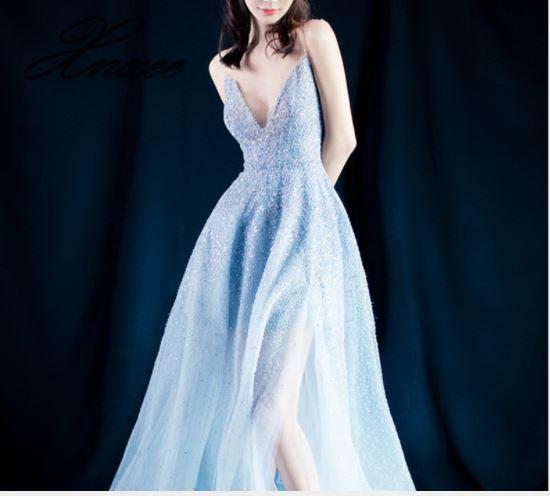 Jurk zomer 2019 nieuwe V hals banket jurk nobele elegante party dress-in Jurken van Dames Kleding op  Groep 1