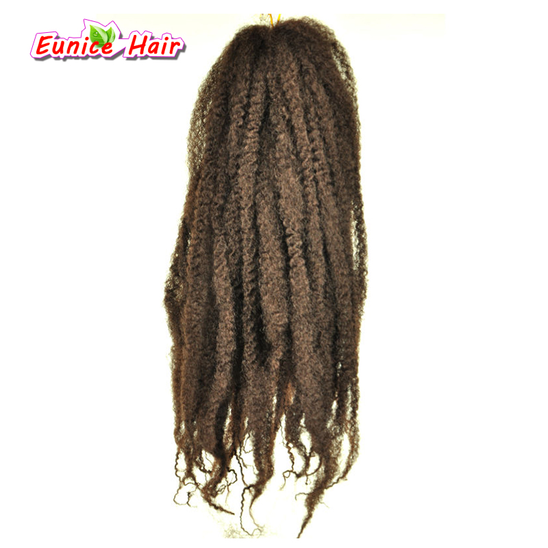Eunice Beauty 20inch 100g Brown Ombre Crochet Braids Hair 6PCS Synthetic Afro Kinky Curly Twist Marley Braiding Hair Extensions