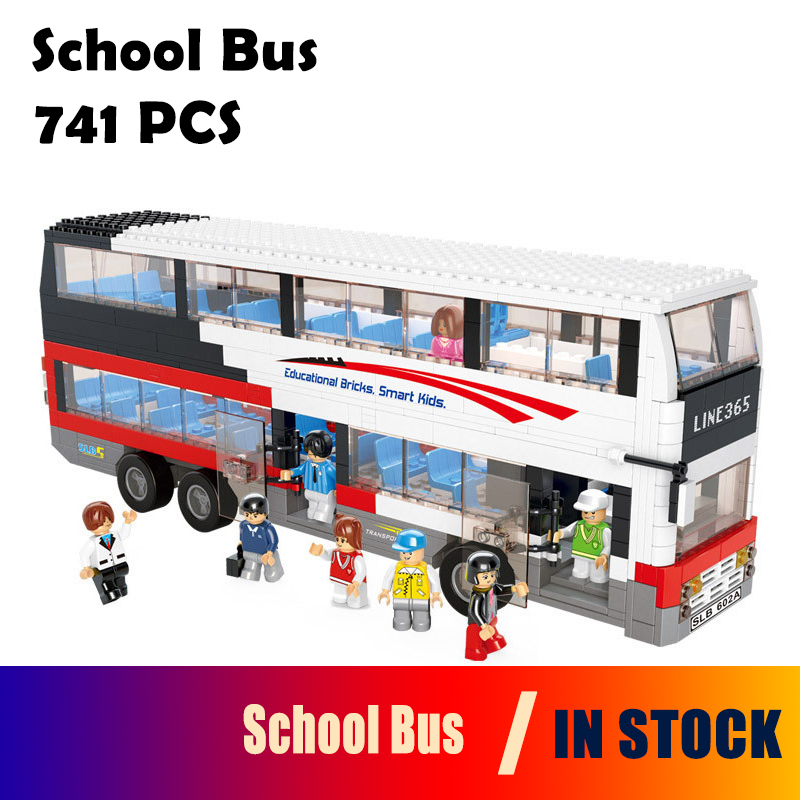 Models building toy 0335 Decker Bus School Bus Blocks 741pcs Building Blocks compatible with lego city toys & hobbies lepin 02012 city deepwater exploration vessel 60095 building blocks policeman toys children compatible with lego gift kid sets