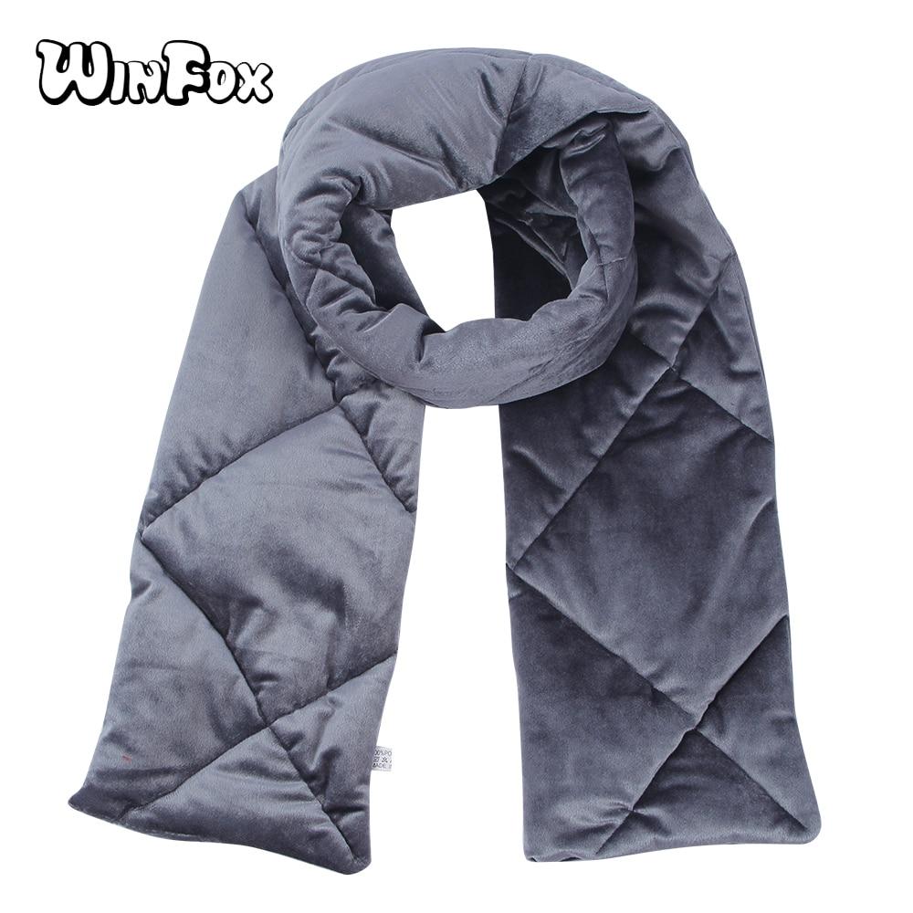 Winfox 2018 Fashion Black Grey Yellow Winter   Scarf   Female Long warm Velvet Scarfs   Wrap   For Women Ladies