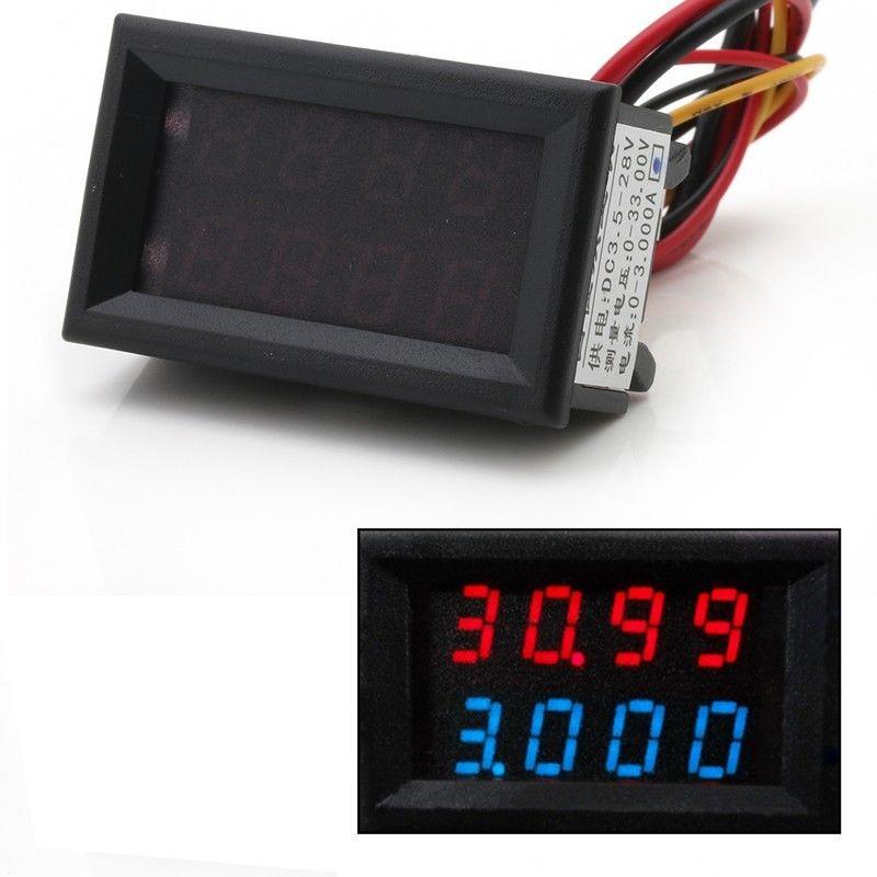 4 Bit 0-33V 3A DC Voltmeter Ammeter Digital LED Dual Display Amp Volt meter t15 3 1 2 digit 2 2 led display panel digital meter ammeter dc 3a