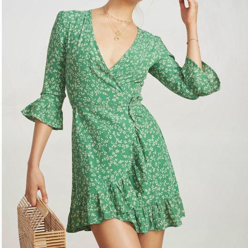 Wrap Col Floral Court Recadrée V Vert Mini Été Robes Boho Robe Ondulé Manches 2019 Dames Femme Avec EqI0zw14