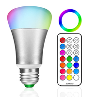 E27 RGB LED Bulb 10W LED RGB Lamp 110V 220V 12 Colors Remote Control Led Light