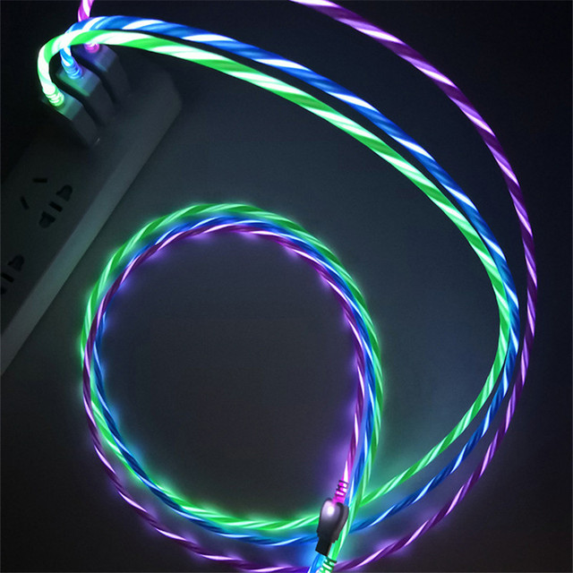 LED זוהר מזרימים נתונים USB מטען סוג C/מיקרו USB/8 פינים טעינת כבל עבור iPhone X סמסונג גלקסי S9 S8 תשלום חוט כבל