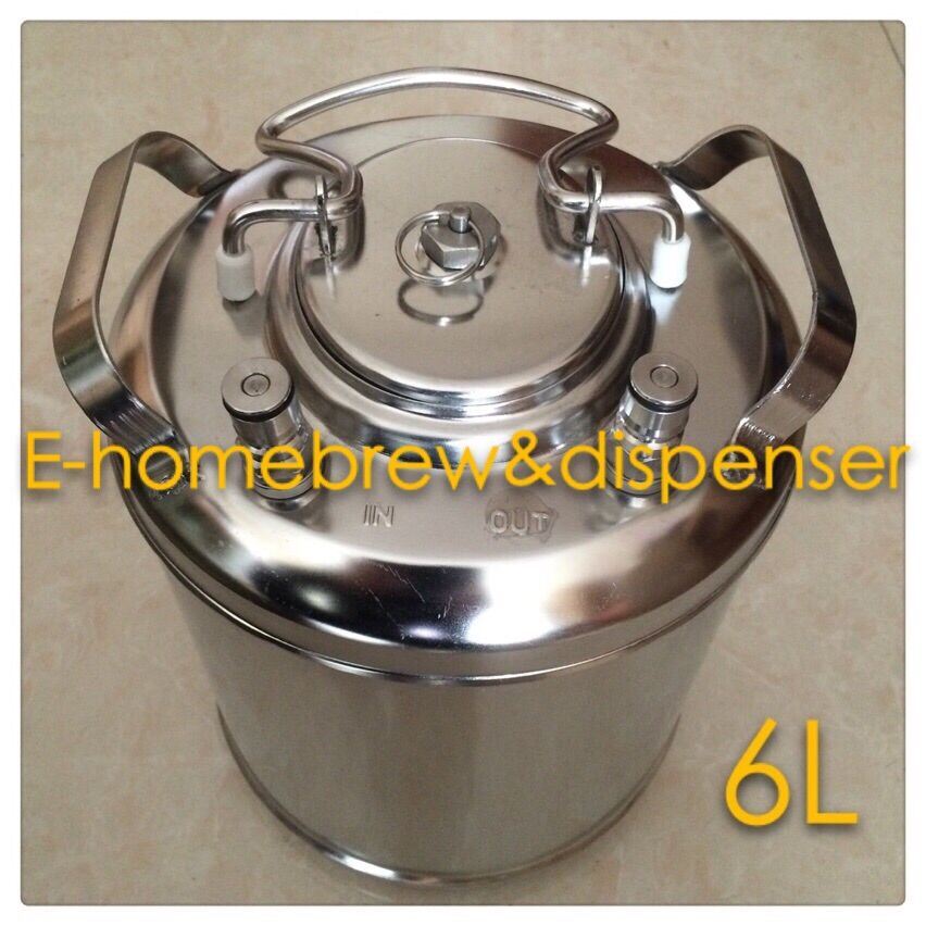 Brand New Beer Keg,6L Capacity, 304 Stainless Steel Ball Lock Cornelius style  , Closure Lid with Pressure Relief Valve