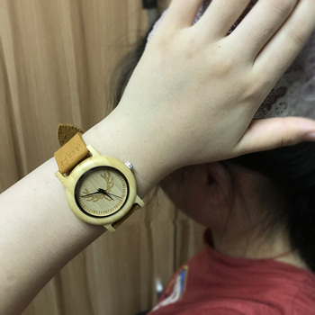 Wooden watches women s quartz wrist watch with deer wood bamboo case leather bracelet watches for.jpg 350x350