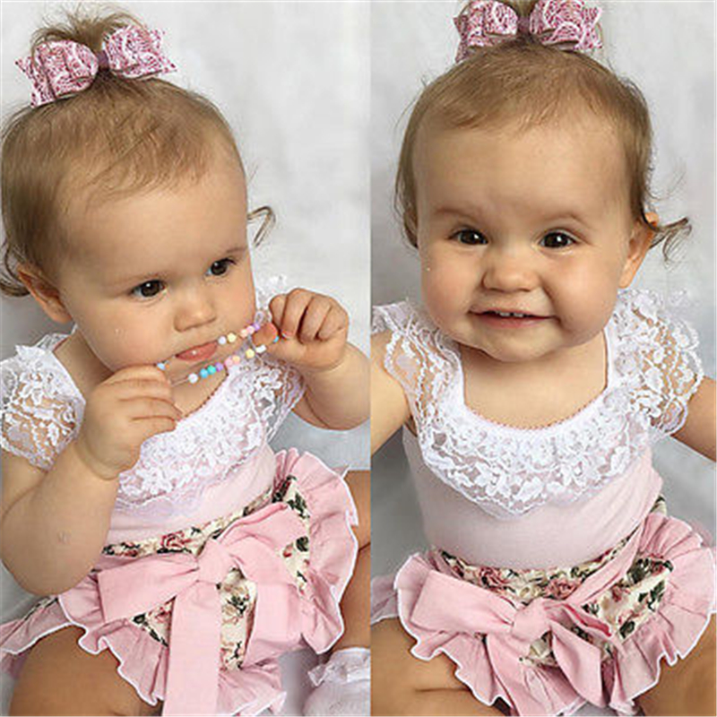 Toddler Baby Girl Clothes Set Baby Lace Tops T-shirt+Floral Shorts 2pcs 2017 New Hot Sale Outfit Kids Clothing Set Costume 0-24M