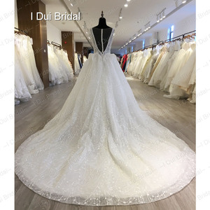 Image 3 - Shinny Bling Wedding Dress Bridal Gown V Neck Ball Gown Illusion Button Back