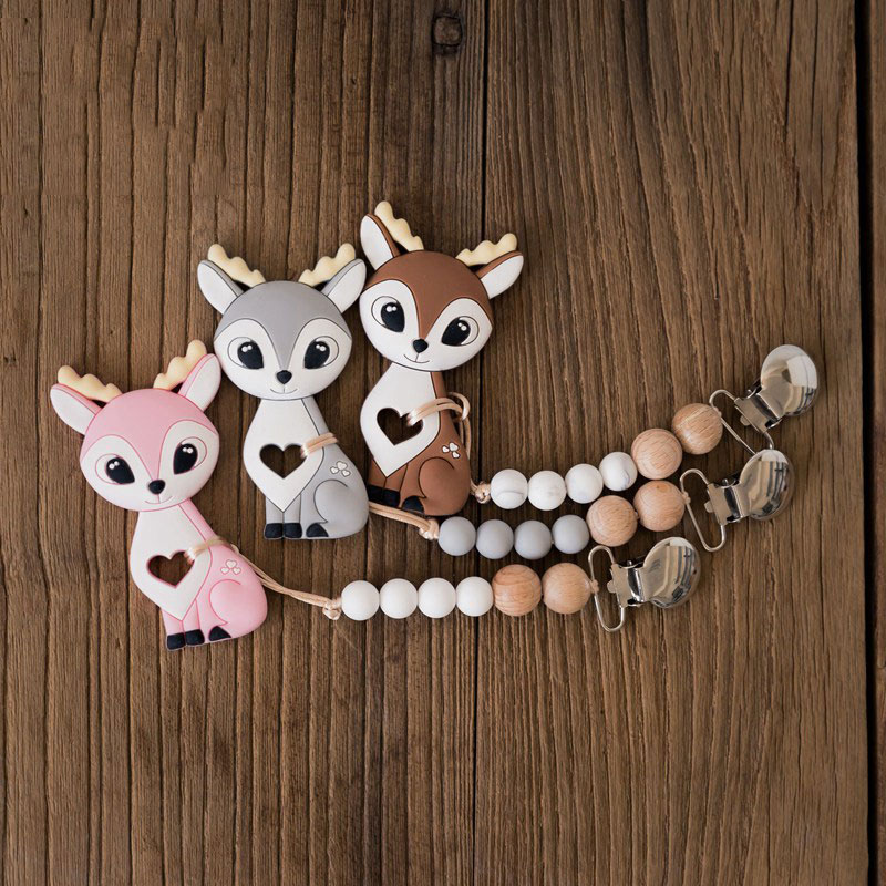 Silicone Baby Teether Silicone Sika Deer Pacifier Chain Clip Letter Beads Bracelet Baby Teething Necklace Silicone Bead BPA Free